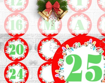 Printable Advent Calendar - Countdown Christmas - Red Circle Labels with Numbers 1-25 and Letters MERRY CHRISTMAS - instant download