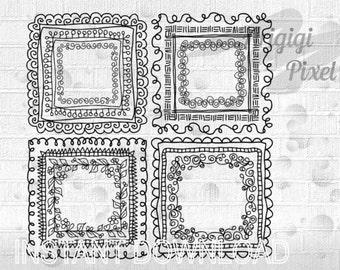 doodle square frames clip art set - hand drawn digital graphic - scrapbooking clipart download