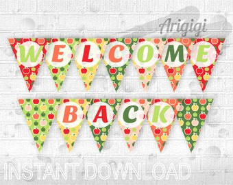 welcome back printable banner colored pencils classroom etsy