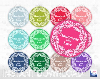 printable stickers for hand knitted items - round cable knit motif - assorted colors - labels size 2.5 '' - word template - PDF - download