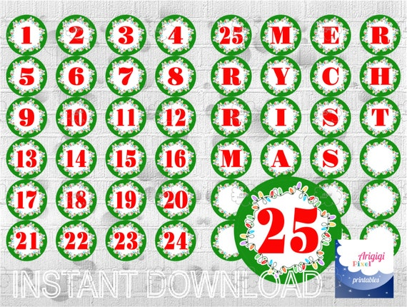 graphic relating to Merry Christmas Letters Printable called Countdown in direction of Xmas - Printable Arrival Calendar labels