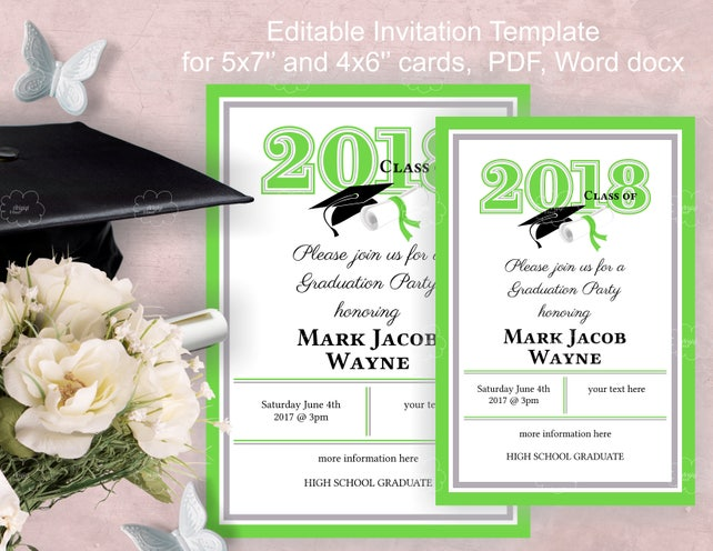 Graduation Party Invitation Template download edit yourself | Etsy