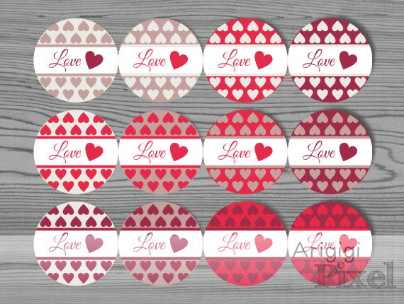 Printable Valentines Day Label Template Love Round Stickers Etsy