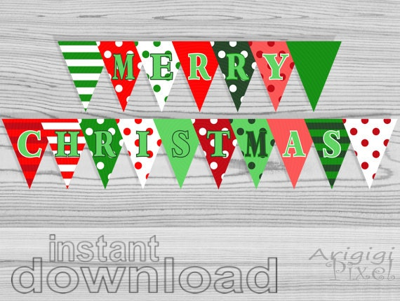 Merry Christmas Letter Banner Printable.Items Similar To Merry Christmas Party Banner Polka Dot