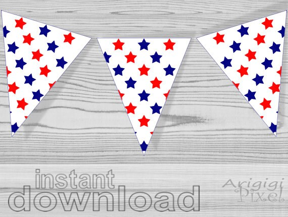 image relating to Stars Printable named purple blue celebs printable patriotic bunting banner - American