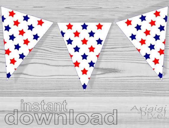 graphic about Stars Printable identified as crimson blue superstars printable patriotic bunting banner - American