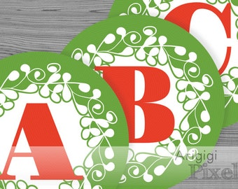Christmas green Alphabet & Number large circles - ornate design - printable PDF files - party banner letters download