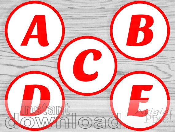 Printable RED Alphabet Letters And Numbers Circles 3 5 Inch