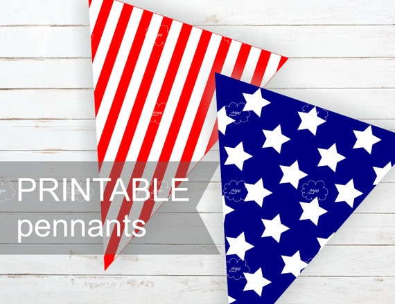 image regarding Printable Pennants named Printable Patriotic Pennants - 4th of July Do it yourself Celebration