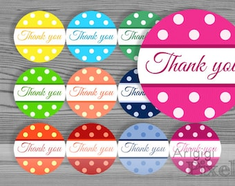 Printable round Thank you labels - polka dot circle 2.5 inch size - download DIY sticker for party favor, homemade gift, jar decoration