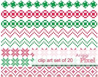 Ugly Sweater Clipart Ornament set - 20 ribbon clip art embellishments - Christmas scrapbooking -  download