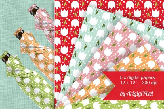 Tulipes Blanches Collage Feuille Extensible Motif Papiers Digitaux De Pâques Sans Soudure Imprimable Scrapbooking à Télécharger
