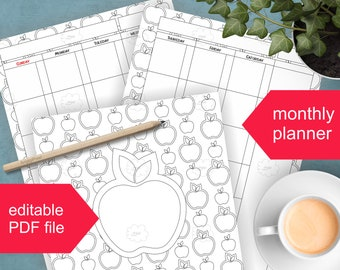 Monthly Calendar Editable PDF for Download , Black and White Apples Pattern , Undated Planner on 2 Pages