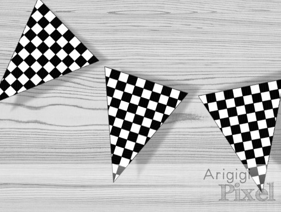 Party Banner Bunting Red Black And White Stripes Personalised Birthday