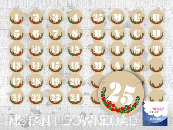 graphic regarding Merry Christmas Letters Printable titled Arrival Calendar - Beige Countdown Xmas - Printable