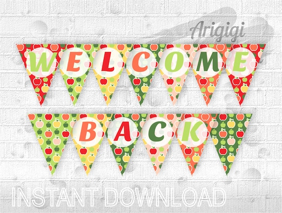 Classroom Banner Says WELCOME BACK Printable Banner Back To Etsy