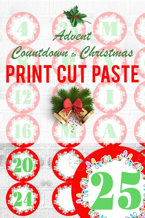 picture relating to Christmas Numbers Printable known as Printable Arrival Calendar - Countdown Xmas - Crimson Circle