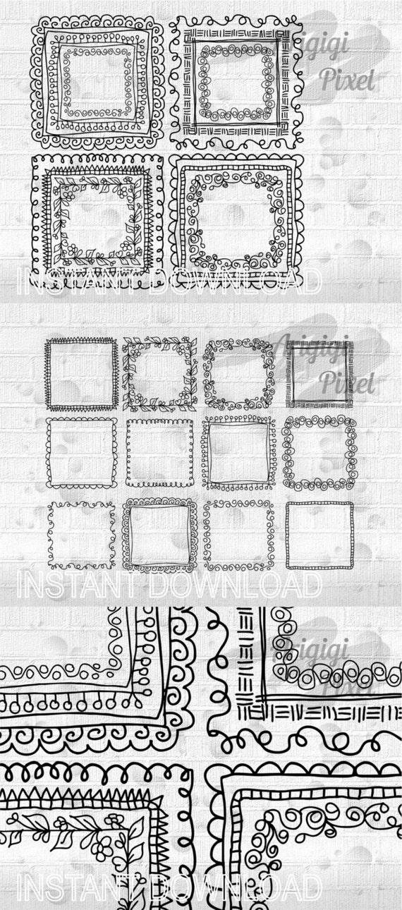doodle square frames clip art set - hand drawn digital graphic ...