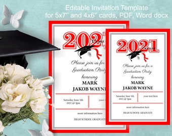 Graduation Invites Template Download - edit yourself invitation - red, DIY invitation, grade party 2021, class of 2021 party