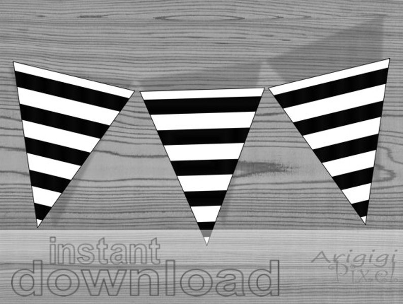 image regarding Printable Pennants named prompt down load - printable striped pennants - black and white - Do it yourself occasion banner