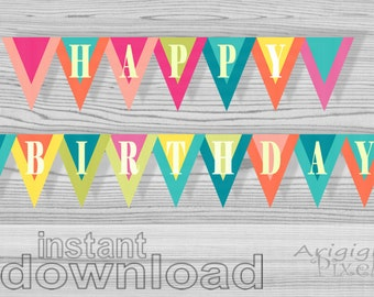 Happy Birthday banner printable birthday celebration party decoration - bold spring summer colors - DIY - download