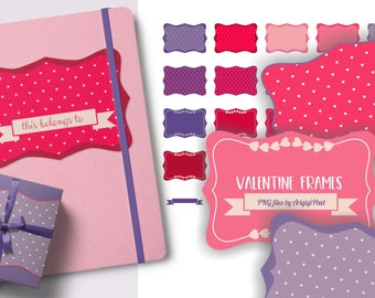 retro bracket frames clipart - in red pink ultra violet - 6 x 4 inches - PNG files for Valentine cards and labels