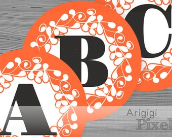 Halloween banner letters - large alphabet, number - orange ornate circle 6.8 inches - printable PDF files