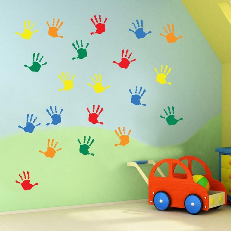 kids hand prints wall stickers kids nursery play room home art | etsy