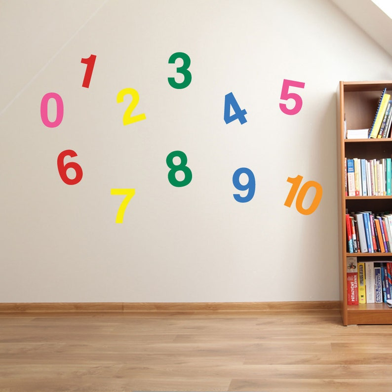 1 to 10 numbers wall stickers kids nursery play room home art | etsy