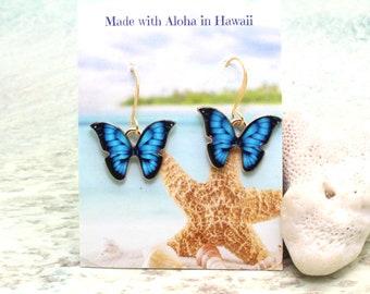 Enamel Butterfly Earrings / Monarch Butterfly / Butterfly Earrings / Gold Dangle Earrings