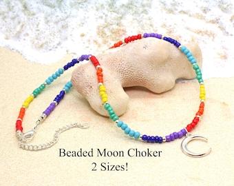 Beaded Rainbow Choker with Moon / Rainbow Necklace / Chakra Colors / LGBTQ Jewelry / Moon Goddess Necklace