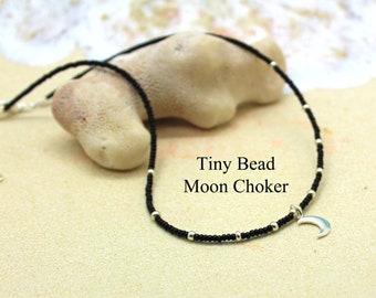 Tiny Beaded Choker with Moon / Black Thin Bead Necklace / Moon Goddess Necklace / Beaded Choker