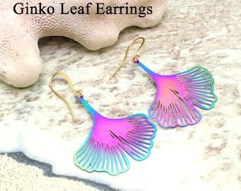 Lightweight Laser Cut Dangle Earrings / GINKO Leaf Earrings / Rainbow Metal / Laser Cut / Lightweight Earrings / Dangle Earrings