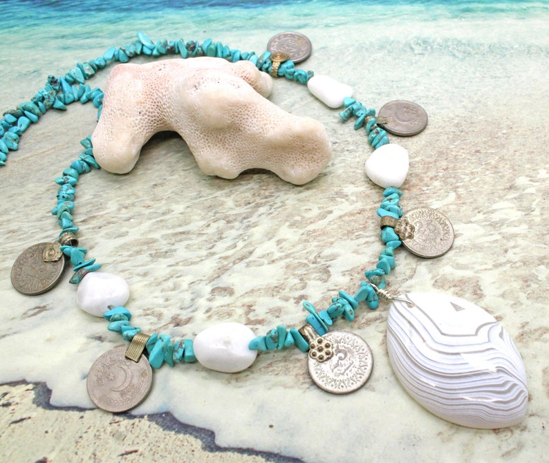 Turquoise Necklace  Kuchi Coin Necklace  Tribal Necklace  Bohemian Necklace  Coin Necklace  Chip Beads  Agate Pendant  Unique