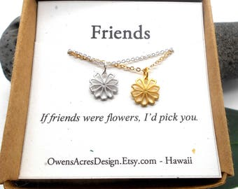 Friends Necklace, Minimalist Necklace, Dainty, Tiny Necklace, If Friends Were Flowers I'd Pick You, Friendship, Flower Necklace