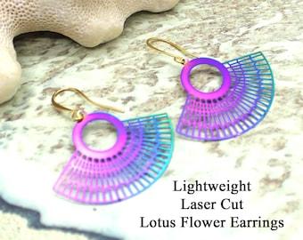 Lightweight Laser Cut Dangle Earrings / Lotus Flower Inspired / Rainbow Metal / Laser Cut / Lightweight Earrings / Dangle Earrings