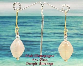 Pink Champagne Art Glass Earrings, Gold Earrings, Art Glass, Pink Glass Earrings, Dangle Earrings