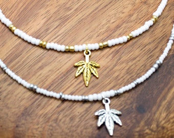 Beaded Choker with Cannibis Leaf / Pot Leaf Choker Necklace / THC / Cannibis / Marijuana Necklace