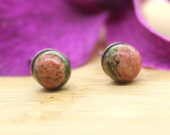 Hypoallergenic Earrings, Tiny Unakite Post Earrings - Minimalist, Tiny Stud Earrings, Stainless Steel Post Earrings, Gemstone Studs