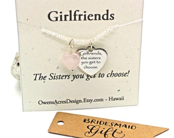 Girlfriends Necklace with Rose Quartz Charm Necklace, Minimalist Necklace, Girlfriends Jewelry, Bridesmaid Gifts, Sisters Necklace
