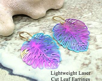 Lightweight Laser Cut Dangle Earrings / Monstera Leaf Earrings / Rainbow Metal / Laser Cut / Lightweight Earrings / Dangle Earrings