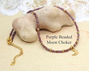 Tiny Beaded Choker with Moon / Purple Bead Necklace / Moon Goddess Necklace / Beaded Choker