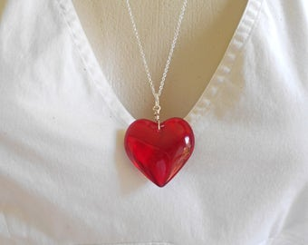 Heart Necklace, Red Heart Glass Necklace -  Heart, Love, Anniversary, Wedding, Valentines Day, I Love You, Large Heart Necklace, Red Heart