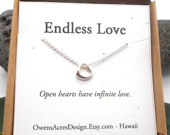 Endless Love Open Heart Necklace, Minimalist Necklace, Dainty, Tiny Necklace, Heart Necklace, Valentines Day, Love, Anniveresary