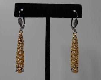 Chainmaille Earrings, Gold Chainmaille Earrings, Stainless Steel Chainmaille Earrings, Graduated Box Chain Chainmaille Earrings