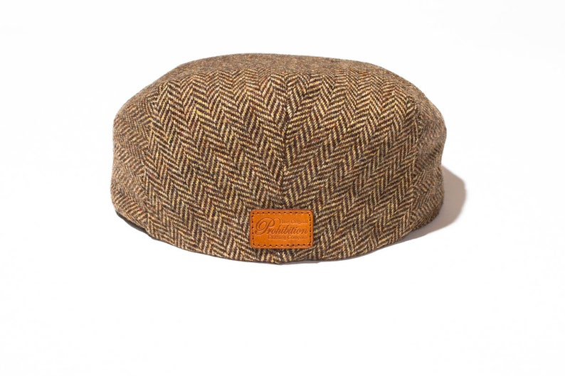 The Sutton Herringbone DRIVER Cap in Chocolate  by Prohibition Clothing