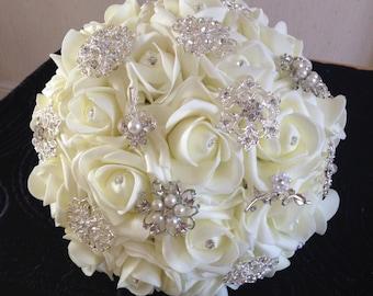 Ivory Foam Rose Brooch Bouquet