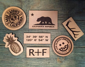 12 Laser Etched Leather Patches, Company Patches, Personalized Patches