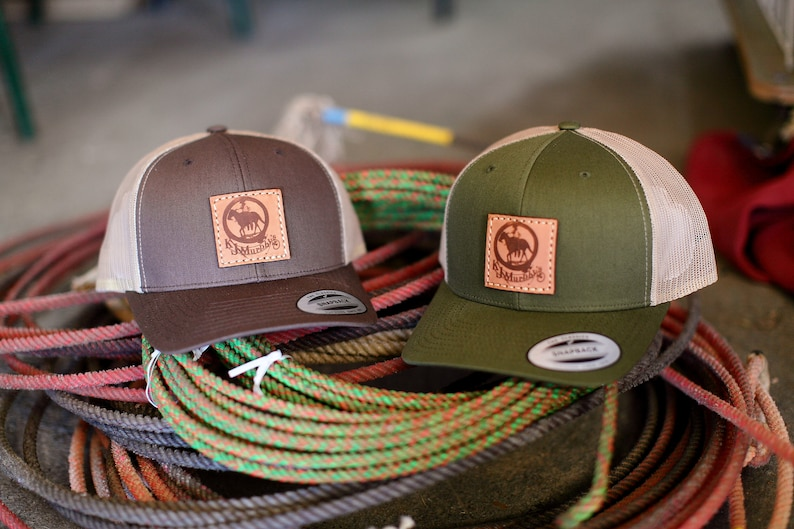 b00f63700 12 Custom Yupoong 6606 Retro Trucker Leather Patch Hats, Company Logo or  Personal Design