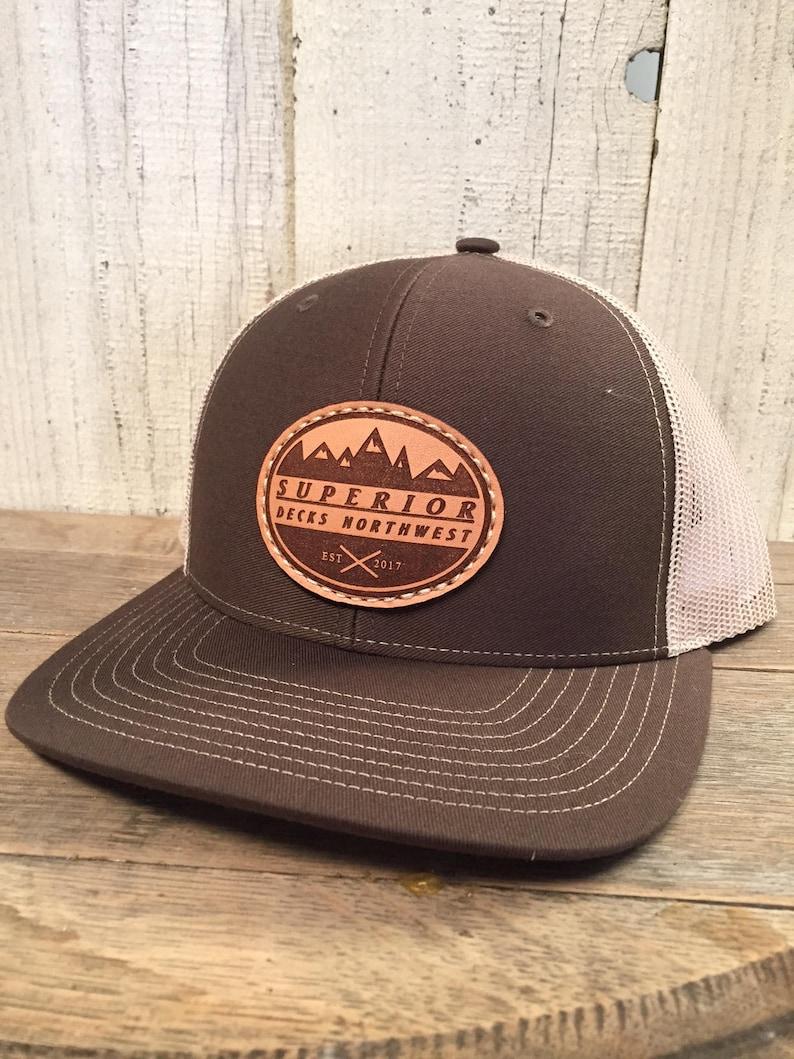 12 Custom Richardson 112s Leather Patch Hats Company Logo or  e125da639ca3